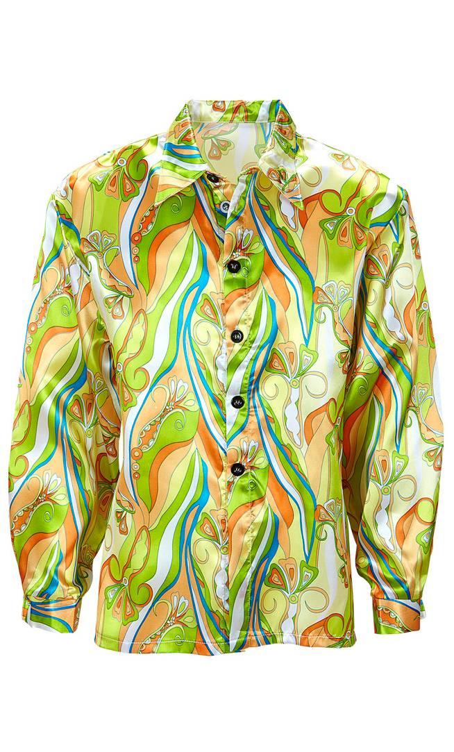 Chemise hippie 70s vert grande taille xl-xxl