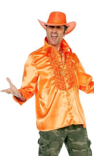 Chemise-Disco-luxe-orange-Grande-Taille-XL-XXL-XXXL