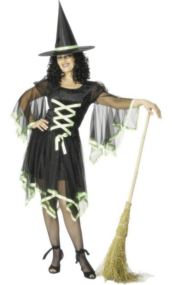 Costume-Sorcière-noire-et-verte-Femme-2