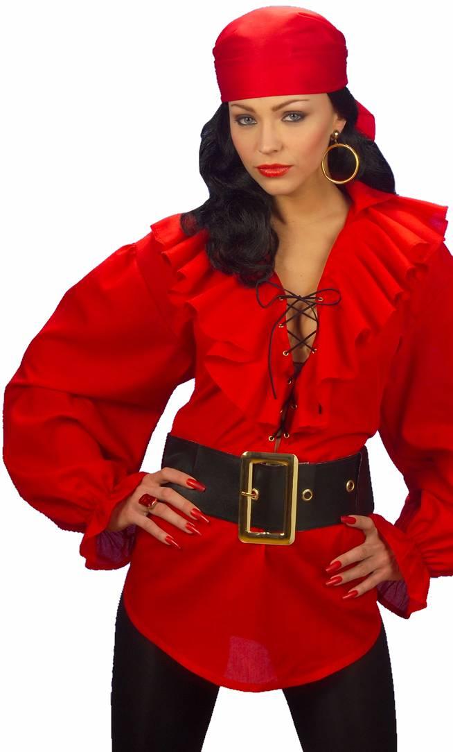 Chemise-de-pirate-rouge-Femme