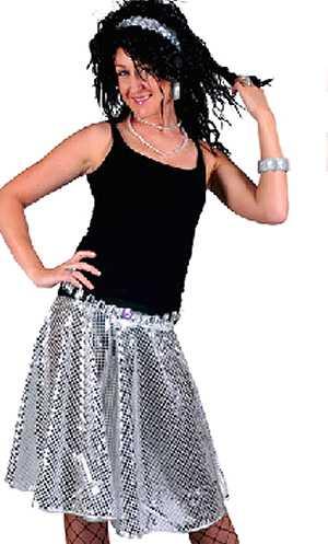 Jupe-disco-paillette-Femme-argent
