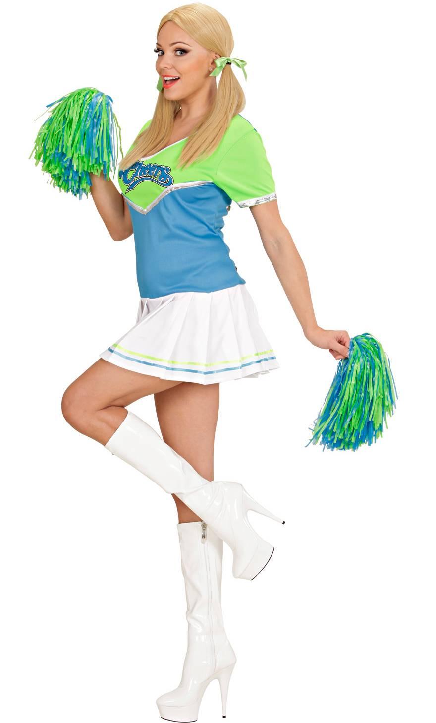 Robe de pom-pom girl bleue femme