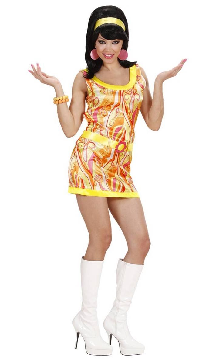 Costume-Mini-Robe-70s-Orange-pour-Femme-2
