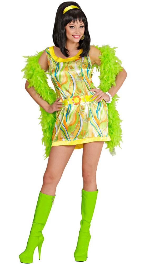 Costume mini robe 70s verte pour femme