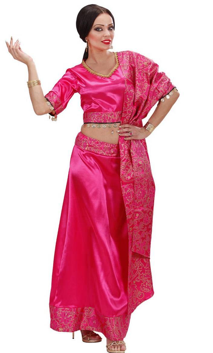 costume bollywood sari rose v29628. Black Bedroom Furniture Sets. Home Design Ideas