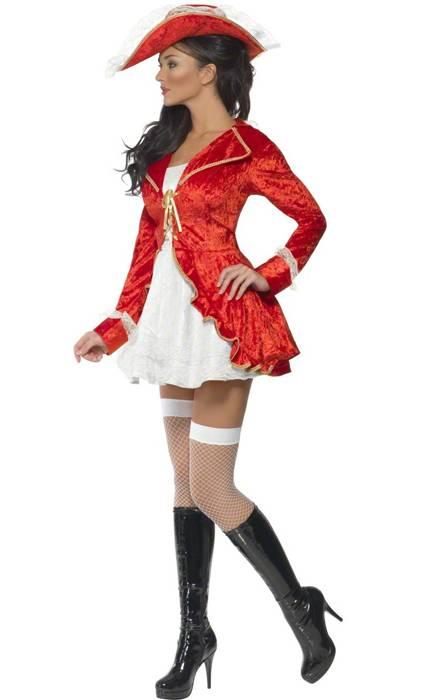 Costume pirate femme rouge