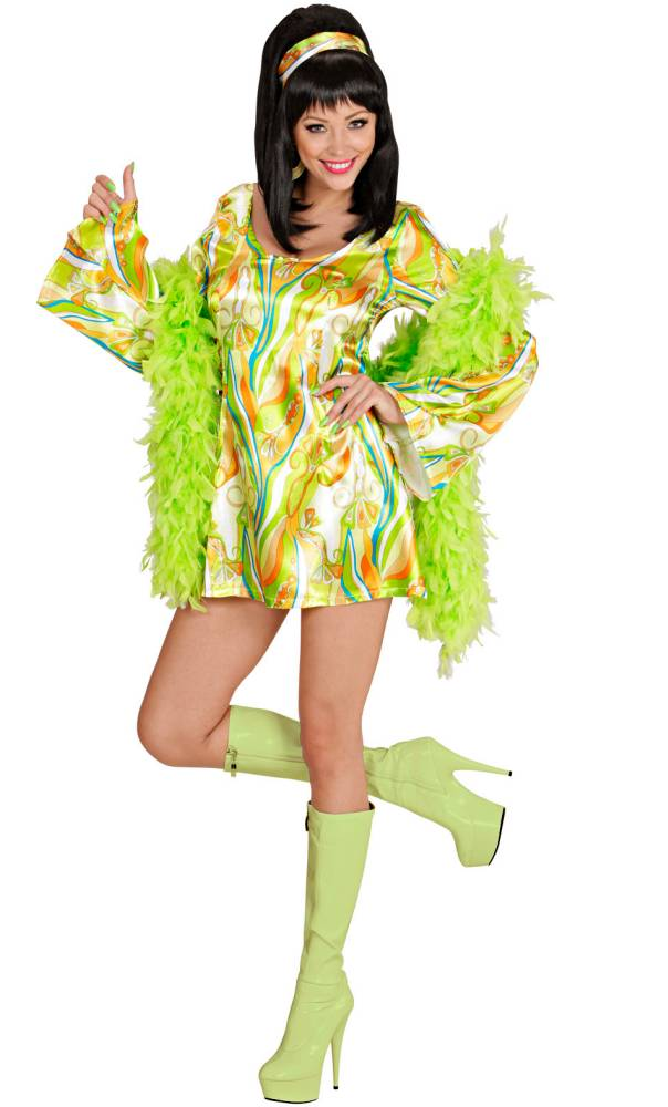 Mini-robe-70s-Verte-Grande-Taille-XL