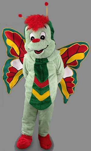 Costume-Mascotte-Papillon-Vert