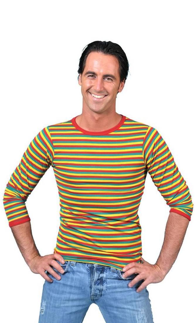 T-shirt-clown-rouge-jaune-vert