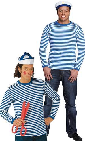 Costume-shirt-rayé-bleu-et-blanc