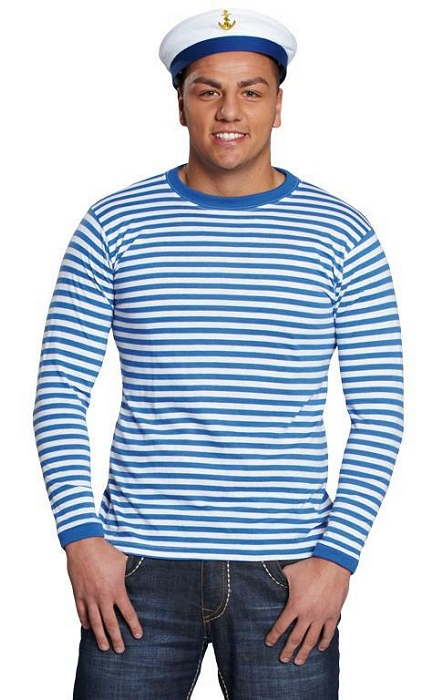 Costume-shirt-rayé-bleu-et-blanc-2