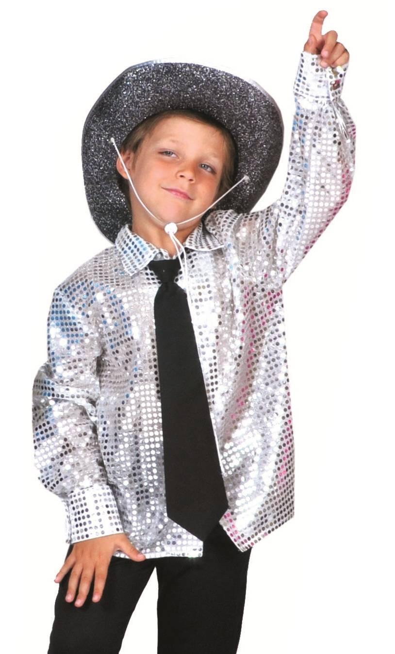 Chemise-disco-Enfant-argent