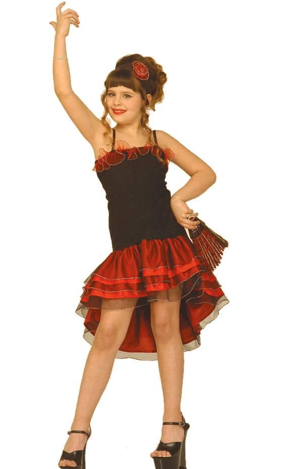 Costume-Espagnole-enfant-Julia-noir-rouge