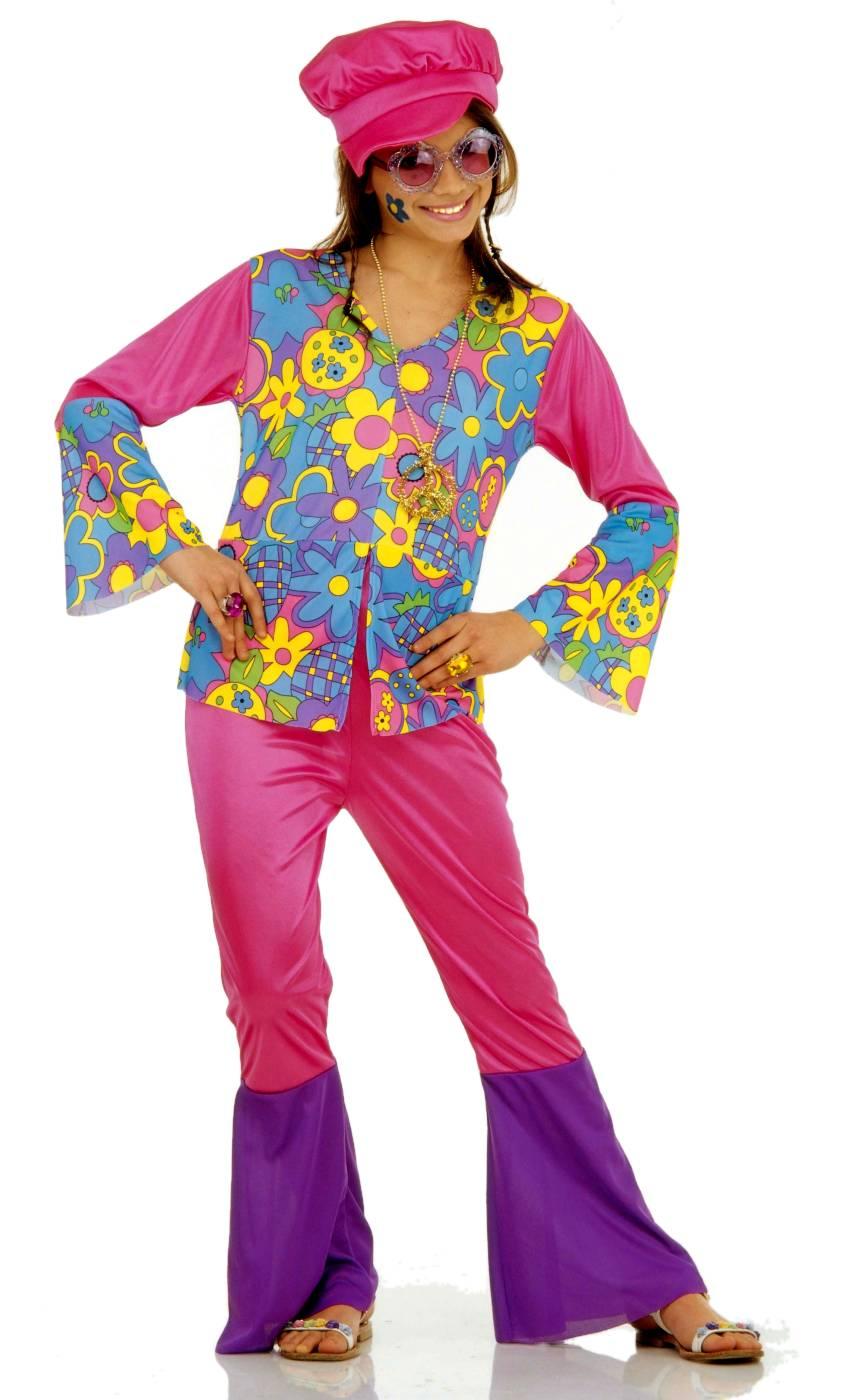Costume-Hippie-enfant-rose