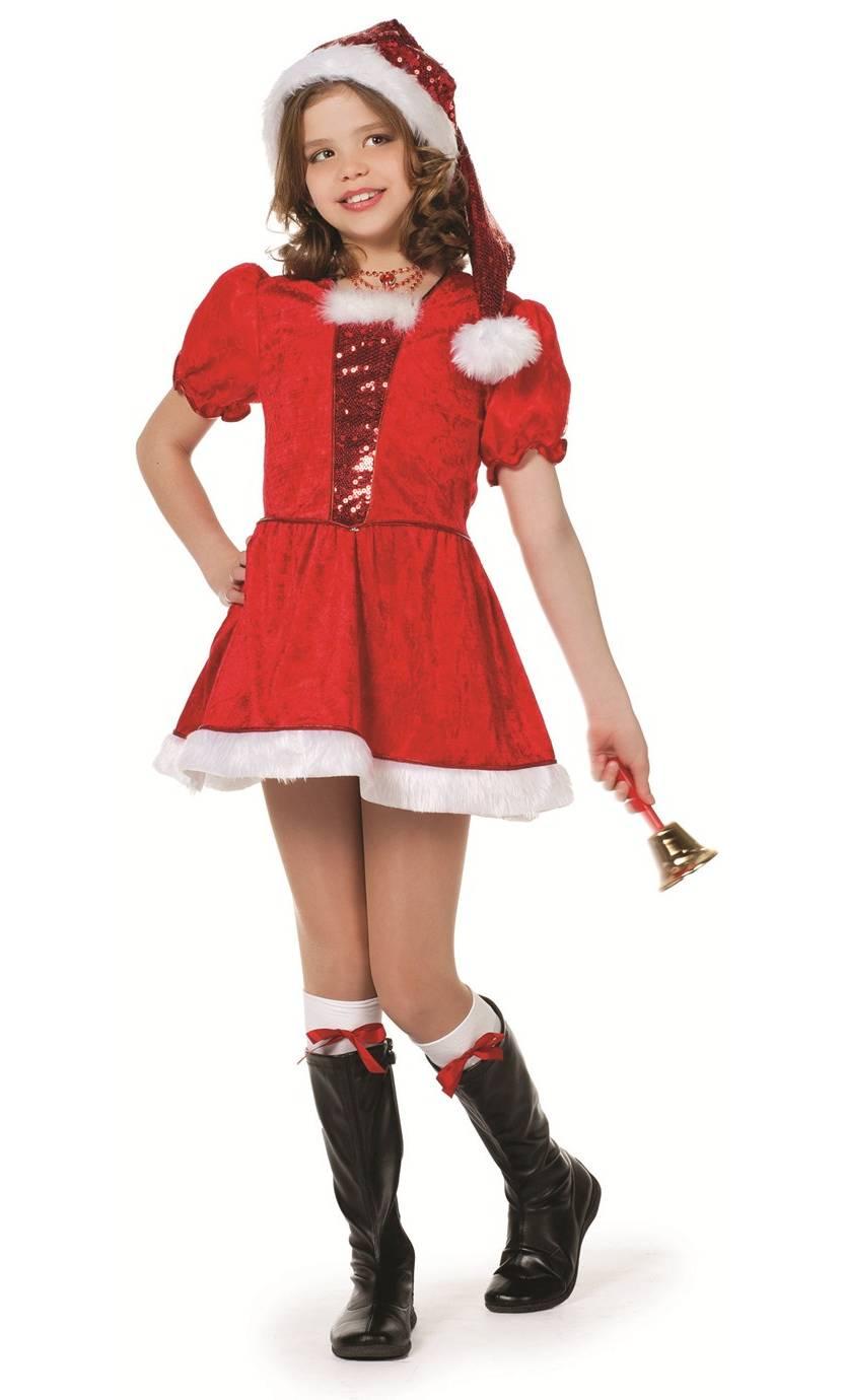 Costume-de-mère-Noël-pour-fille-avec-paillettes