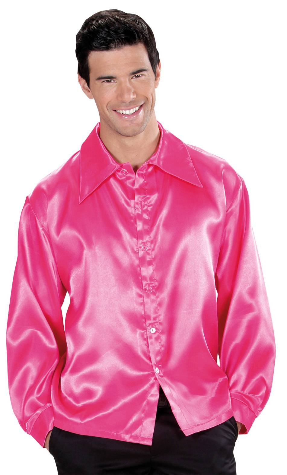 Chemise-Disco-Rose-Grande-Taille-XL