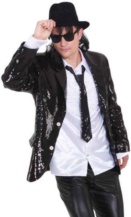 costume veste paillettes noire homme w10058. Black Bedroom Furniture Sets. Home Design Ideas