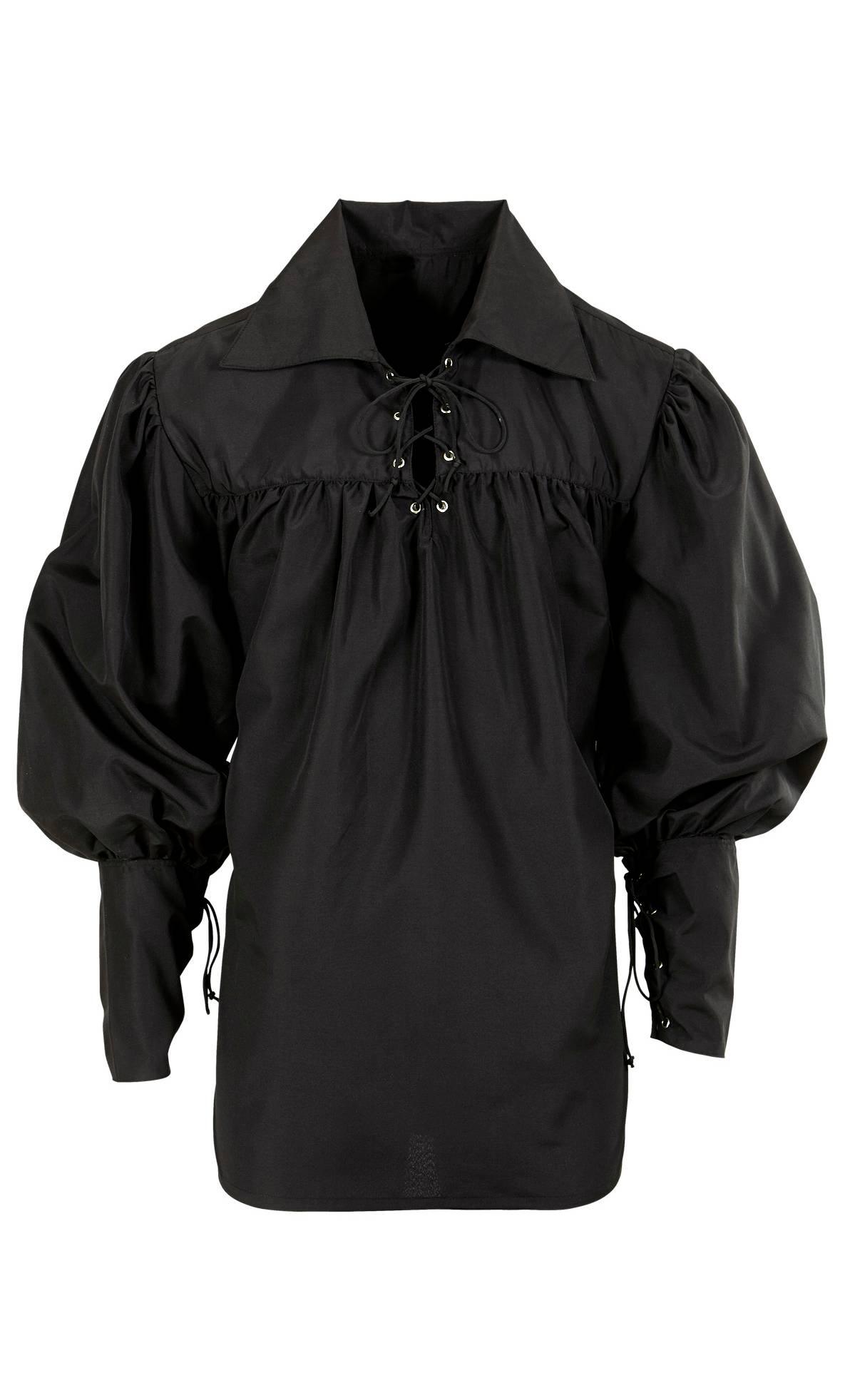 Chemise-époque-noire-homme-grande-Taille-XL