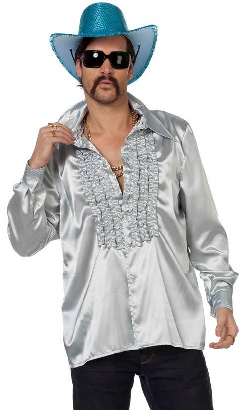 Chemise-disco-argentée-homme