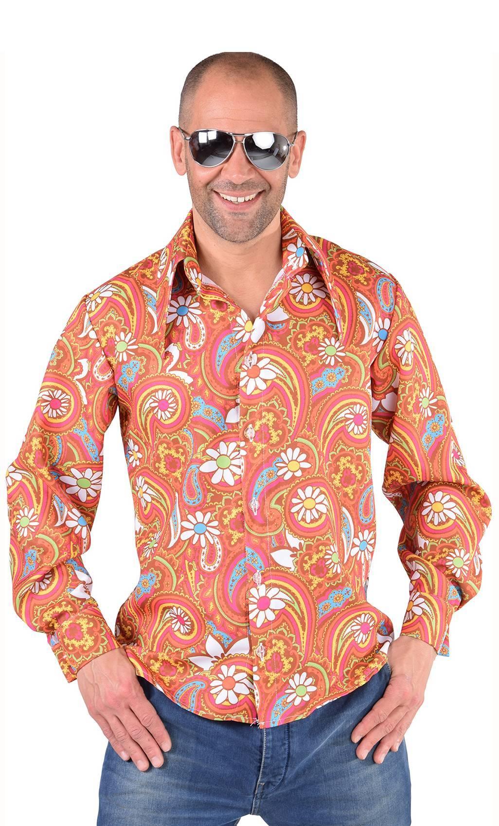 Chemise-disco-homme-orange