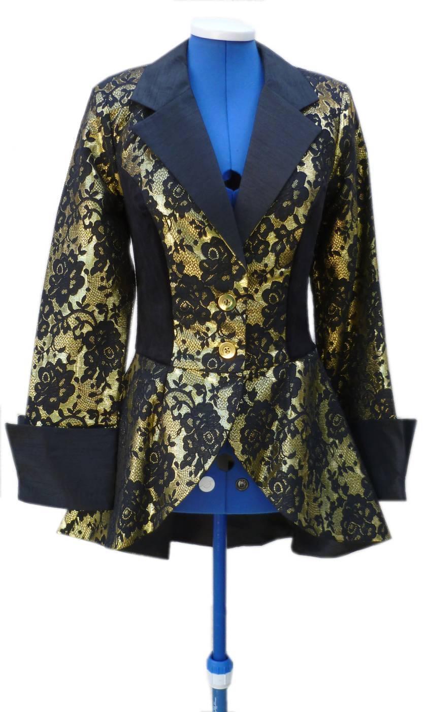 Veste femme brocart or
