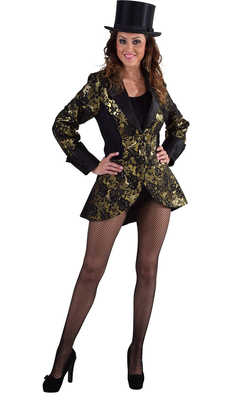 Veste-Femme-Brocart-Or-Grande-taille-XL-4